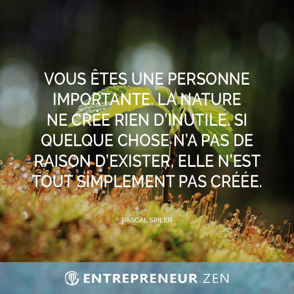 Vous êtes une personne importante. La nature ne crée rien d'inutile. Si quelque chose n'a pas de raison d'exister, elle n'est tout simplement pas créée - Pascal Spiler