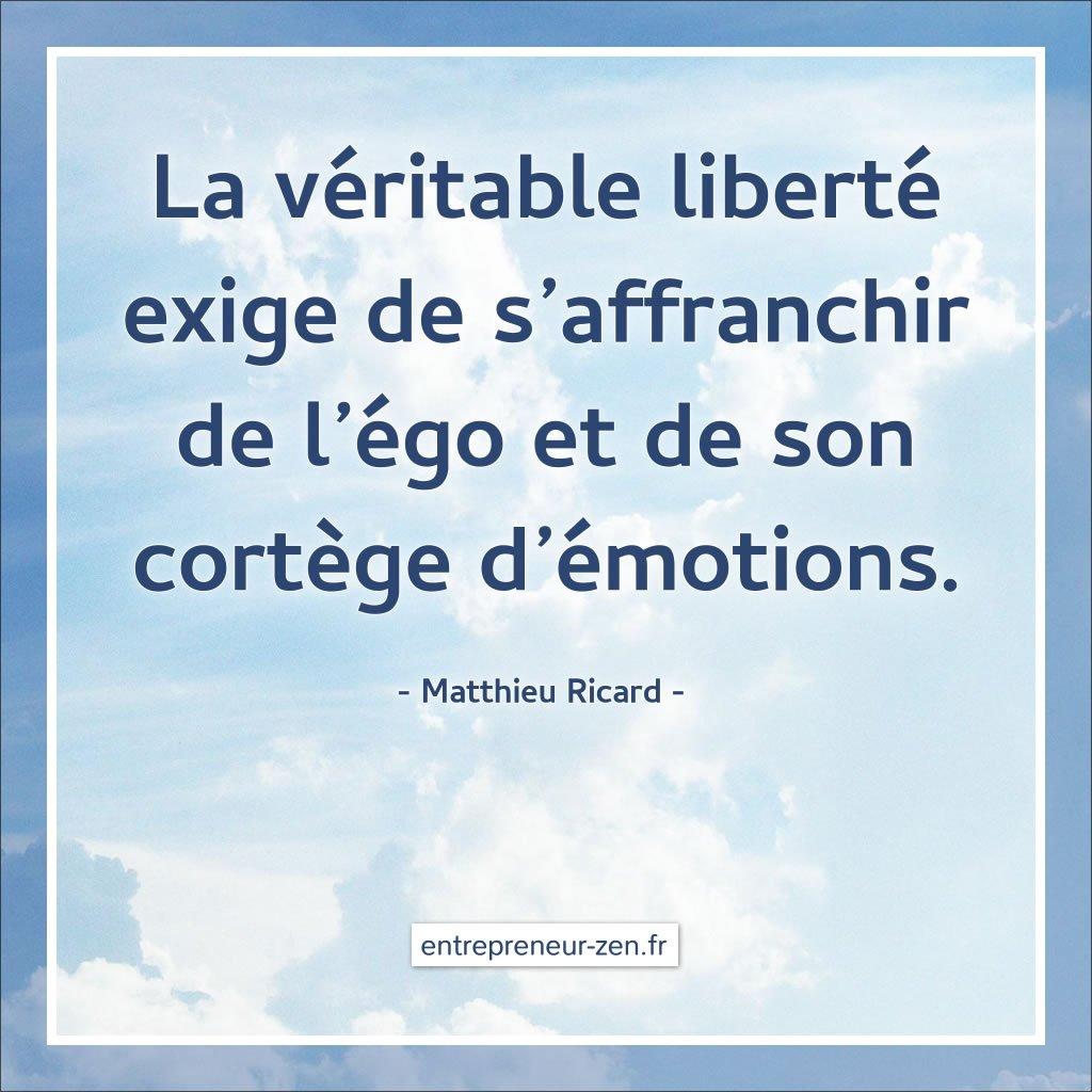 La véritable liberté exige de s'affranchir de l'égo et de son cortège d'émotions - Matthieu Ricard