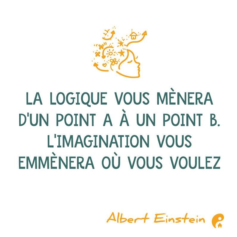 La logique vous mènera d'un point A à un point B. L'imagination vous emmènera où vous voulez. (Albert Einstein)